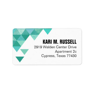 Geometric Triangles Mailing | teal turquoise Address Label