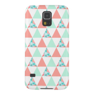 Geometric Triangles Mint Green Coral Pink Pattern Case For Galaxy S5