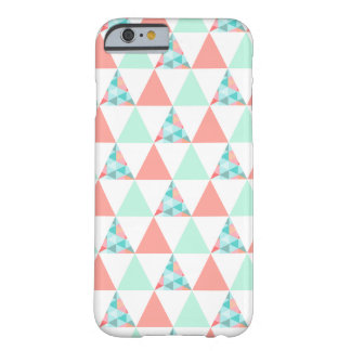 Geometric Triangles Mint Green Coral Pink Pattern iPhone 6 Case