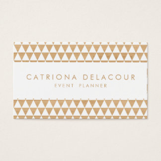 Geometric Triangles on Wood Pattern Business Card