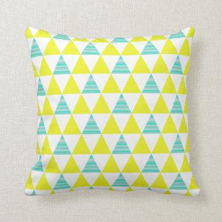 Geometric Triangles Pattern In Yellow White Aqua Throw Pillow