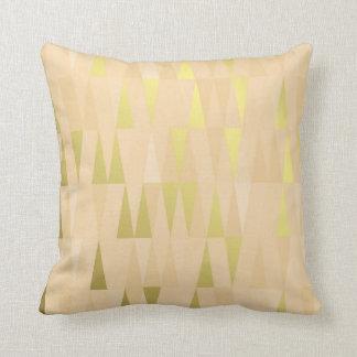 Geometric Triangles Peach Salmon Gold Ivory Throw Pillow