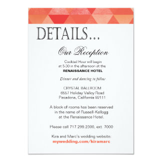 Geometric Triangles Reception Details | coral 4.5x6.25 Paper Invitation Card