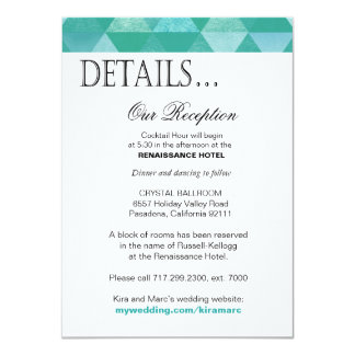 Geometric Triangles Reception Details | teal 4.5x6.25 Paper Invitation Card