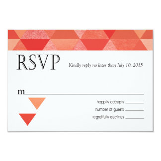 Geometric Triangles RSVP Response Card | coral