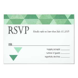 Geometric Triangles RSVP Response Card mint green