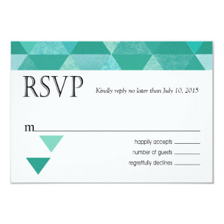 Geometric Triangles RSVP Response Card | teal