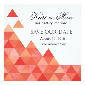 Geometric Triangles Save the Date | coral peach Card