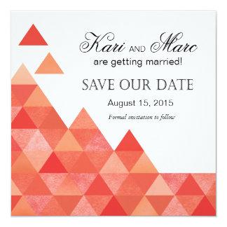 Geometric Triangles Save the Date | coral peach 5.25x5.25 Square Paper Invitation Card