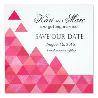 Geometric Triangles Save the Date   fuschia Card
