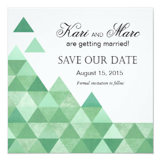 Geometric Triangles Save the Date | mint green Card