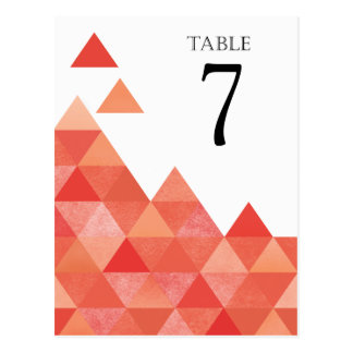 Geometric Triangles Table Numbers | coral Postcard