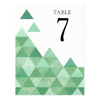 Geometric Triangles Table Numbers | mint green Postcard