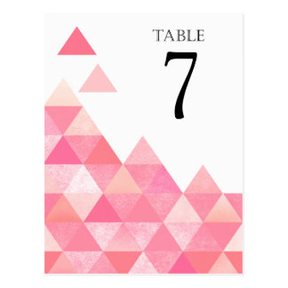 Geometric Triangles Table Numbers   pink mauve Postcard