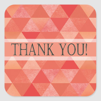 Geometric Triangles Thank You | coral peach Square Sticker