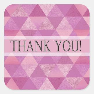 Geometric Triangles Thank You | lilac purple Square Sticker
