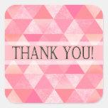 Geometric Triangles Thank You   peony pink mauve Square Sticker
