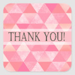 Geometric Triangles Thank You | peony pink mauve Square Stickers