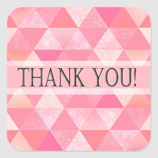 Geometric Triangles Thank You | peony pink mauve Square Sticker