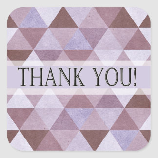 Geometric Triangles Thank You | periwinkle Square Sticker