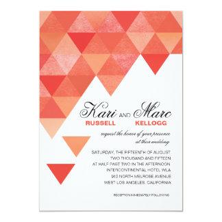 Geometric Triangles Wedding | coral peach 5x7 Paper Invitation Card