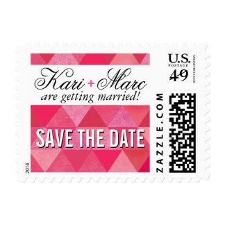 Geometric Triangles Wedding | fuschia hot pink Postage