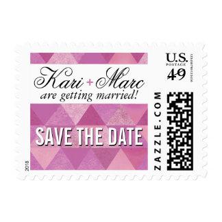 Geometric Triangles Wedding | lilac purple violet Postage Stamp