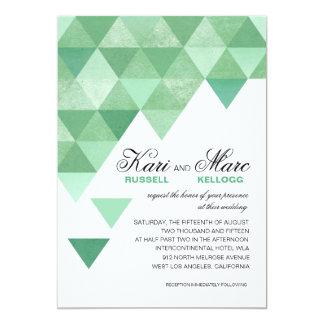 Geometric Triangles Wedding | mint green 5x7 Paper Invitation Card