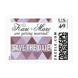 Geometric Triangles Wedding | periwinkle aubergine Postage