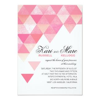 Geometric Triangles Wedding | pink mauve 5x7 Paper Invitation Card