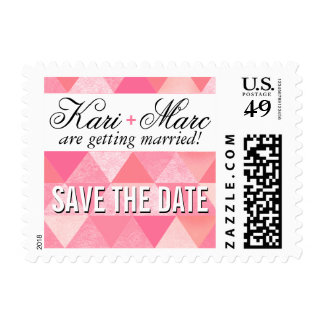 Geometric Triangles Wedding | pink mauve Postage