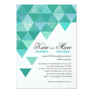 Geometric Triangles Wedding | teal turquoise 5x7 Paper Invitation Card