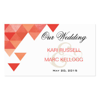 Geometric Triangles Wedding Website | coral Double-Sided Standard Business Cards (Pack Of 100)