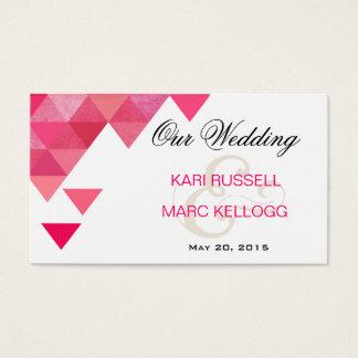 Geometric Triangles Wedding Website   fuschia Business Card