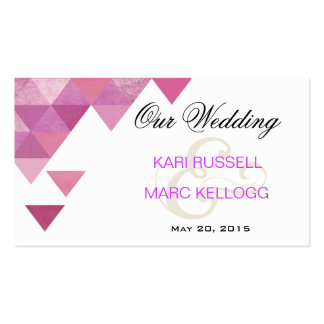 Geometric Triangles Wedding Website | lilac purple Double-Sided Standard Business Cards (Pack Of 100)