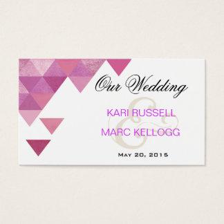 Geometric Triangles Wedding Website   lilac purple Business Card
