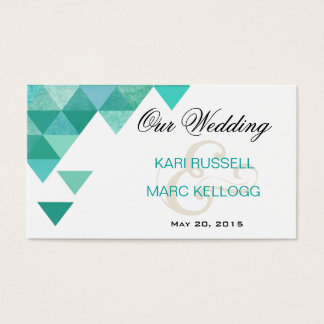 Geometric Triangles Wedding Website | teal Business Card