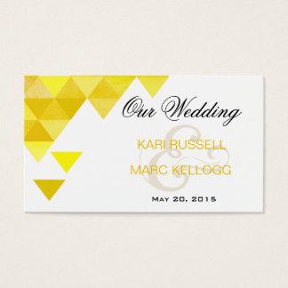 Geometric Triangles Wedding Website | yellow gold Business Card