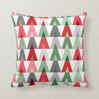Geometric Triangles | white red green Throw Pillow