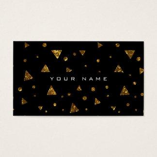Geometric Triangular Glitter Golden Black Vip Business Card