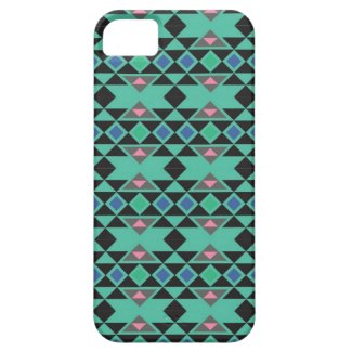 Geometric tribal aztec andes hipster teal pattern