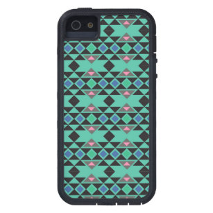 Geometric tribal aztec andes hipster teal pattern iPhone SE/5/5s case