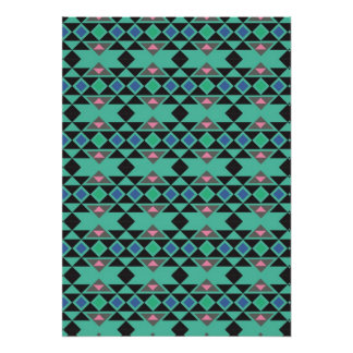 Geometric tribal aztec andes hipster teal pattern poster