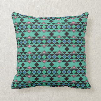 Geometric tribal aztec andes hipster teal pattern throw pillow