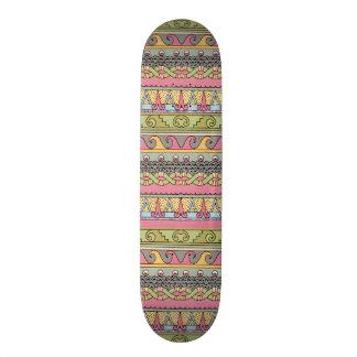 Geometric Tribal Pattern Graphic Vintage Pastel Skateboard