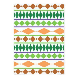 Geometric Tribal Pattern Green Rust Coral 5x7 Paper Invitation Card