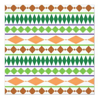 Geometric Tribal Pattern Green Rust Coral Invitation