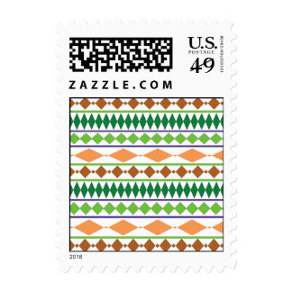 Geometric Tribal Pattern Green Rust Coral Stamps