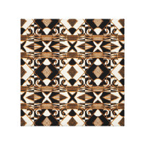Geometric Tribal Style Pattern in Brown Colors Canvas Print