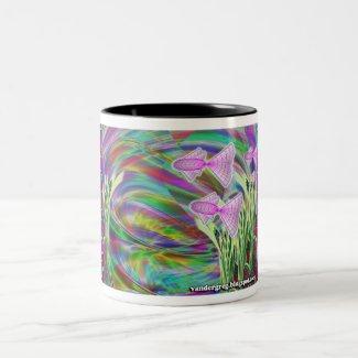 geometric tropical fish in a fantasy world Two-Tone coffee mug
